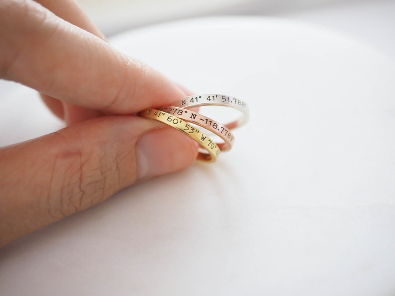 Dainty Coordinates Ring  Stackable Band  Latitude Longitude image 0