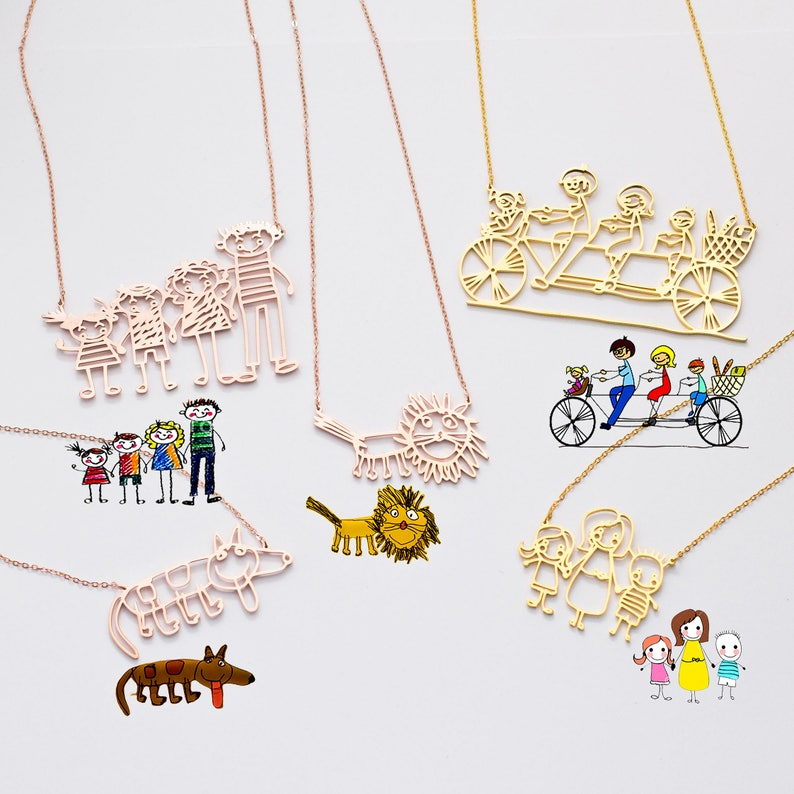 Actual Kids Drawing Necklace  Children Artwork Necklace  Kid image 0