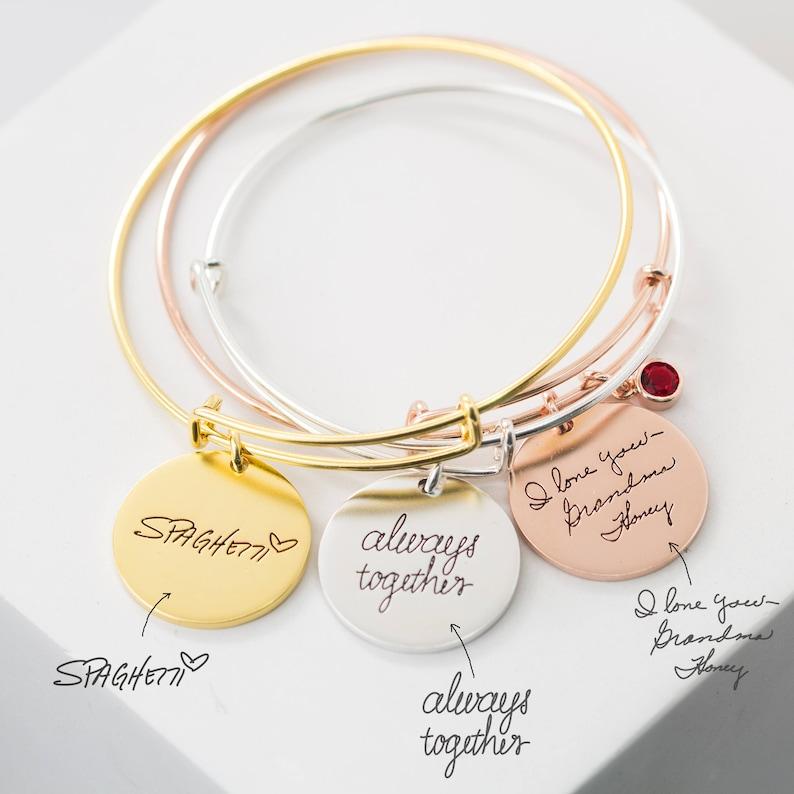 5df6f9f4cfc79 Custom Handwriting Bracelet • Adjustable Fashion Charm Bangle • Actual  Signature Handwriting Jewelry • Expandable Friendship Bangle • BM24