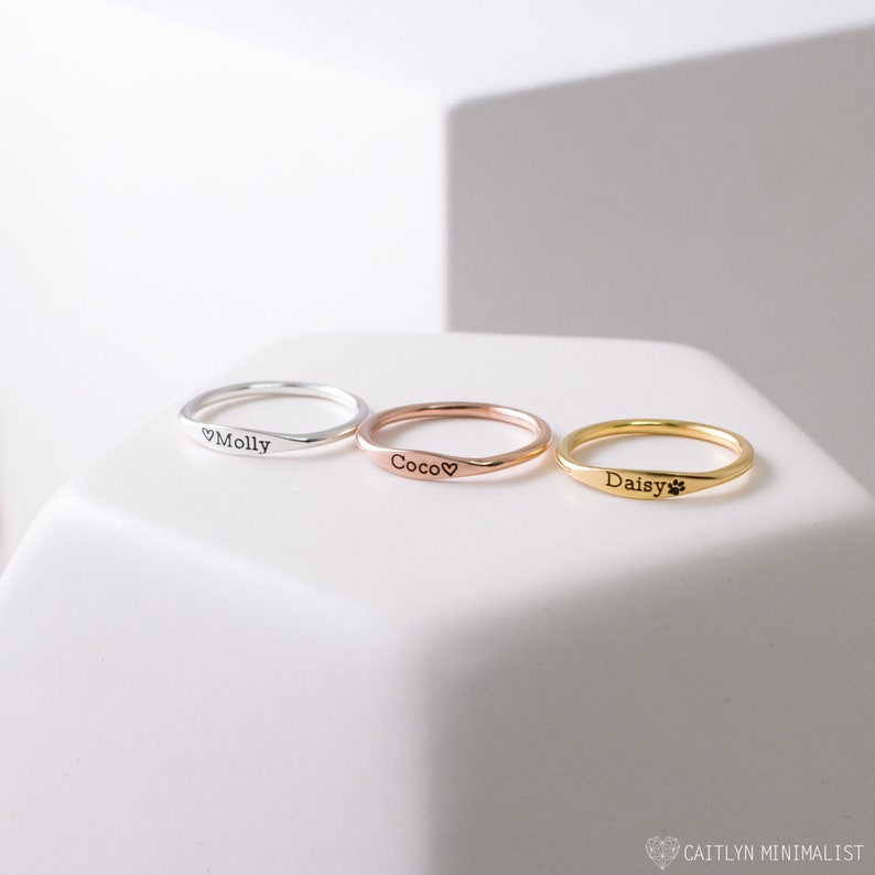 Dainty Name Ring • Custom Delicate Stacking Ring • Personalized Gift for New Mom • Baby Shower Gift • Pet Lover Jewelry • RM21F31 photo