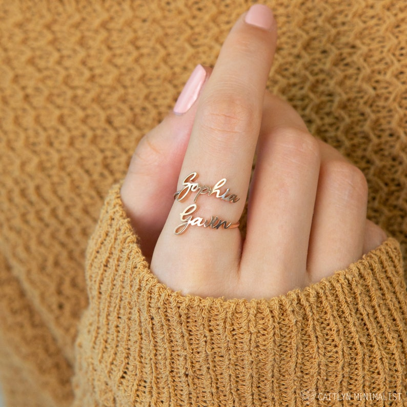 Double Name Ring  Two Name Ring in Sterling Silver Gold and image 0