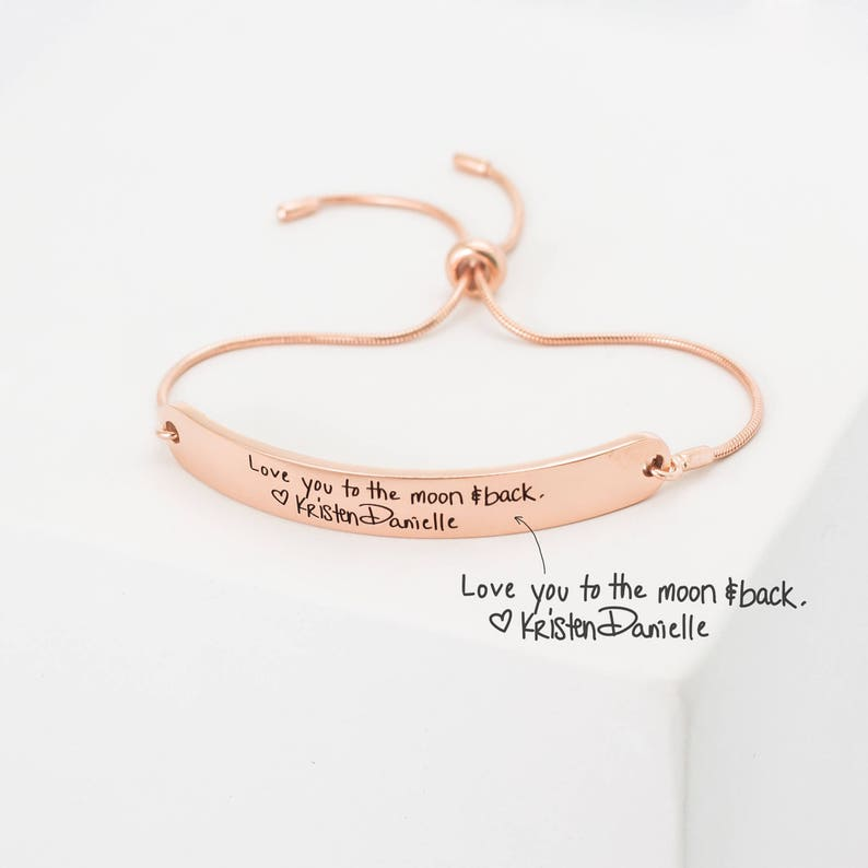 98823ac8e000f Custom Handwriting Jewelry • Actual Handwriting Bracelet • Personalize  Stackable Signature Bangle • Modern Friendship Slider Bracelet • BM22