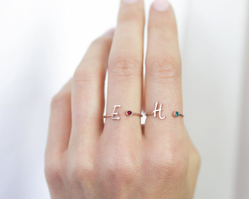 Custom Initial Birthstone Ring  Personalized Sterling Silver image 0