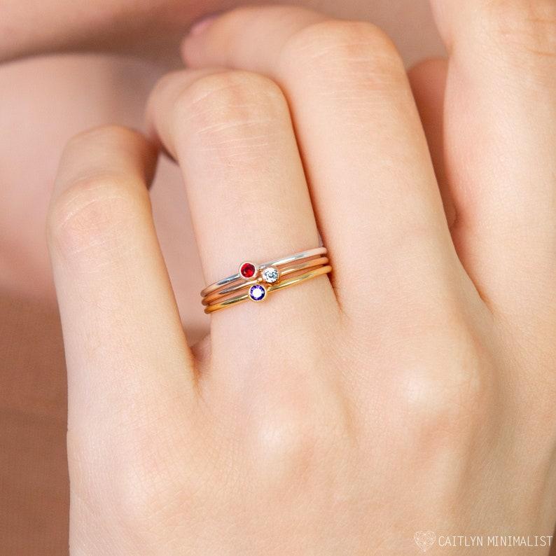 Dainty Birthstone Ring  Gemstone Ring in Sterling Silver  image 0