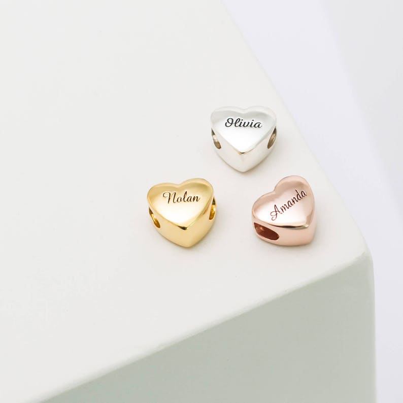Silver Heart Charm  Personalized Name Beads  Custom Name image 0