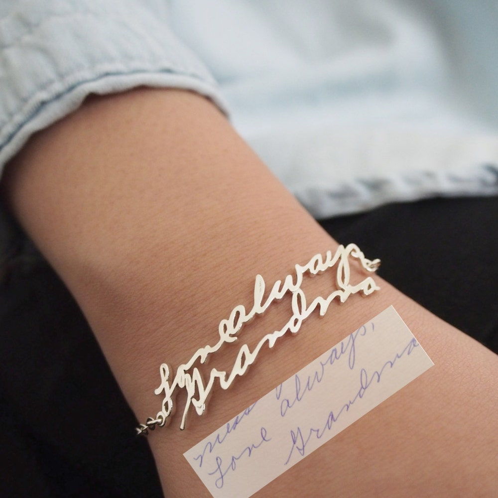 Handwriting Bracelet  Custom Actual Handwriting Jewelry  image 0