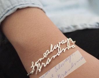 Handwriting Bracelet • Custom Actual Handwriting Jewelry • Signature Bracelet • Memorial Personalized Keepsake Gift • Mother's Gift • BH01