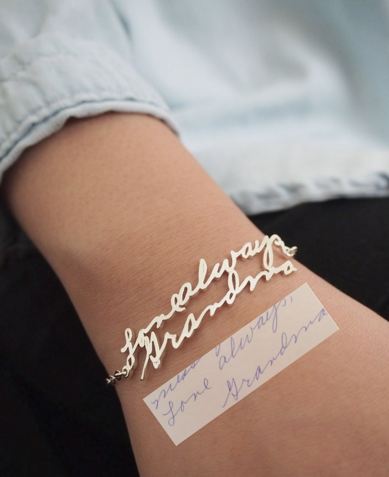 Handwriting Bracelet  Custom Actual Handwriting Jewelry  image 0