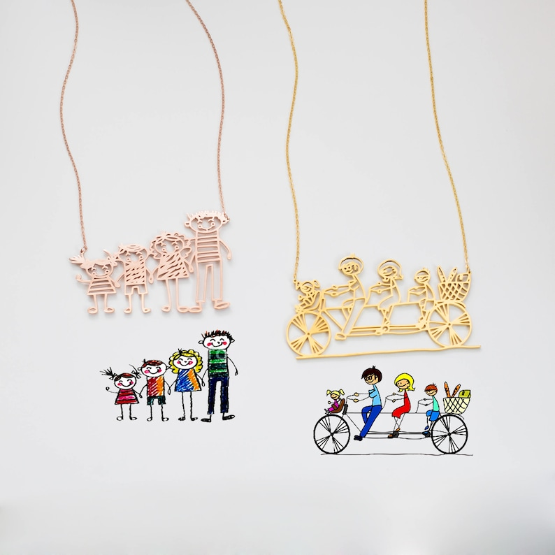 Actual Kids Drawing Necklace Children Artwork Necklace Kid Etsy