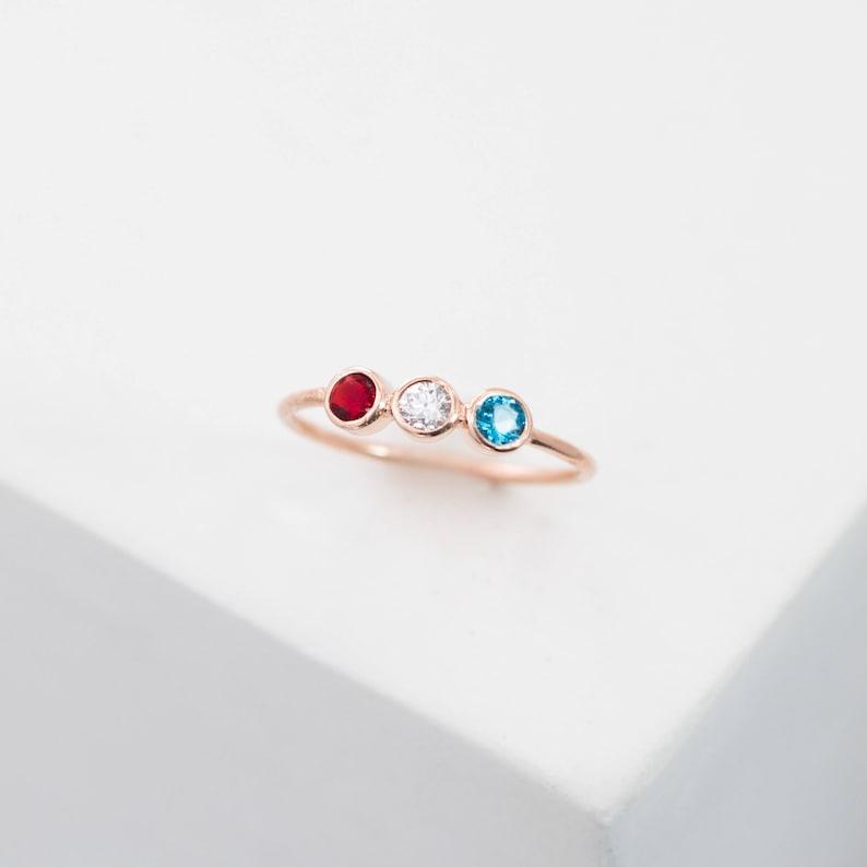 Birthstones Ring • 3 Stone Ring • Personalize Birthstone Gift for Mom • Triple Birthstone Ring • Three Diamond Engagement Ring • RH07 photo