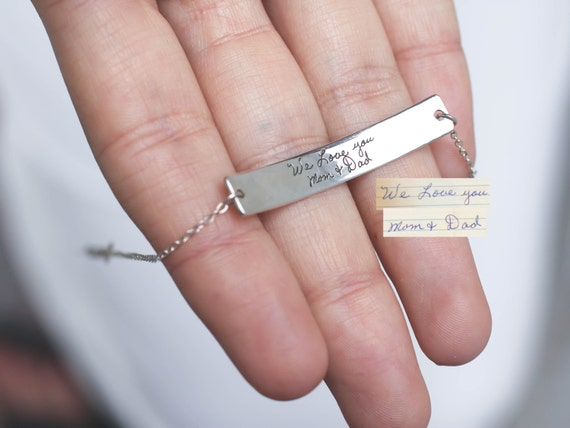 Mother/'s Day Handmade Jewelry Custom Jewelry Gifts for Her Personalized Bar Bracelet Personalized Handwriting Jewelry Etched Jewelry