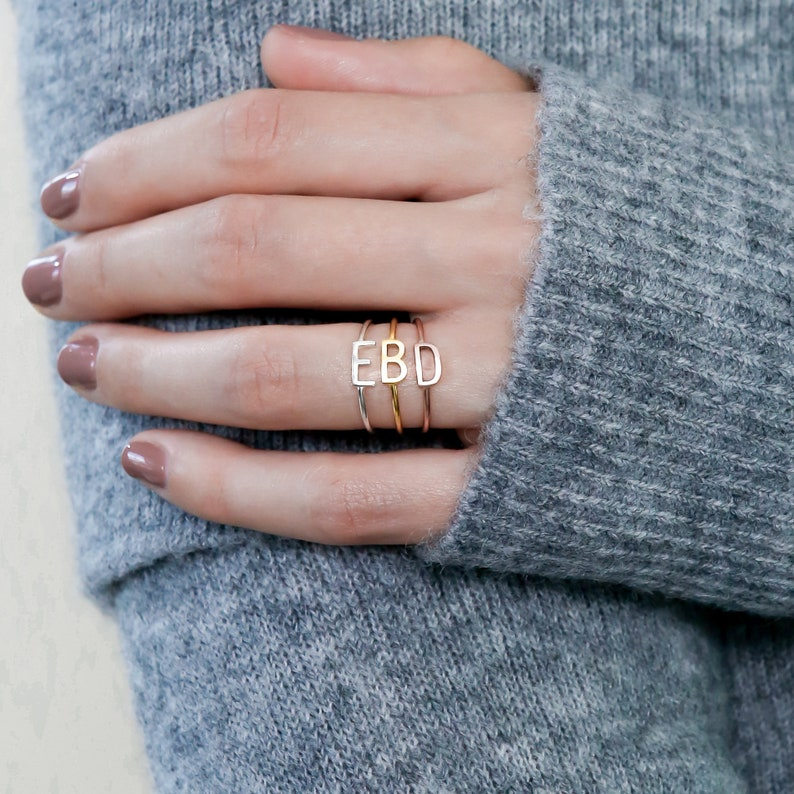 Sideway Initial Ring  Sterling Silver Ring  Stacking Ring  image 0