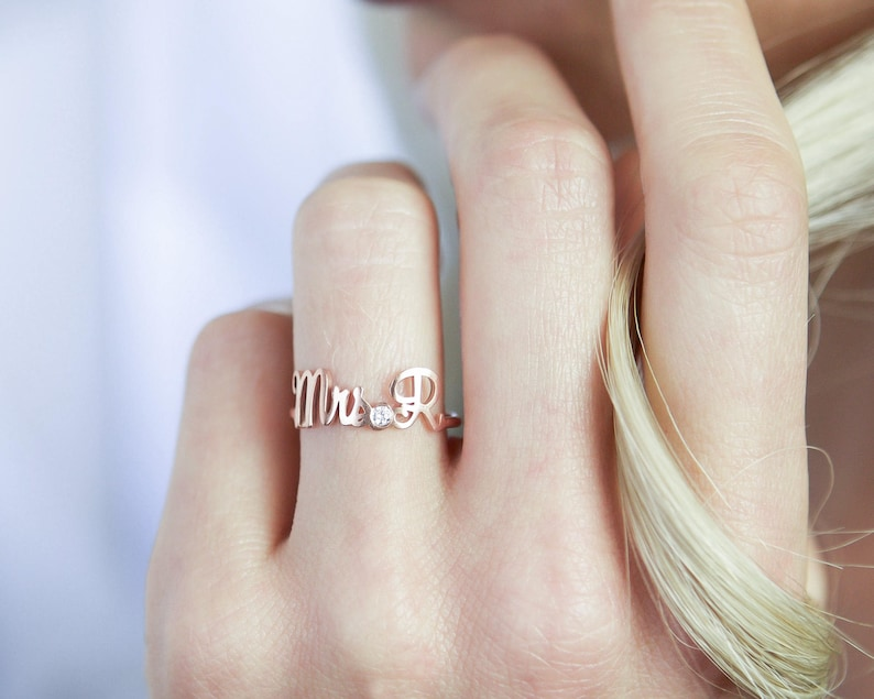 Custom Engagement Ring  Custom Name Ring with Birthstone  image 0