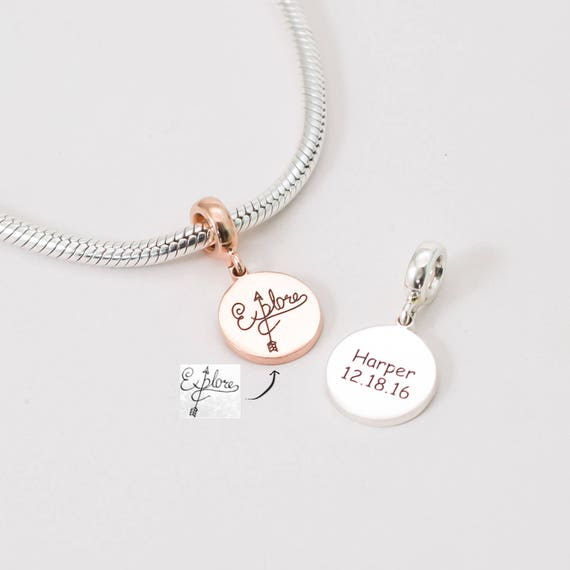 Actual Handwriting Charm Custom Handwriting Disc Personalized Planner Charm Wedding Bouquet Charm Memorial Gifts