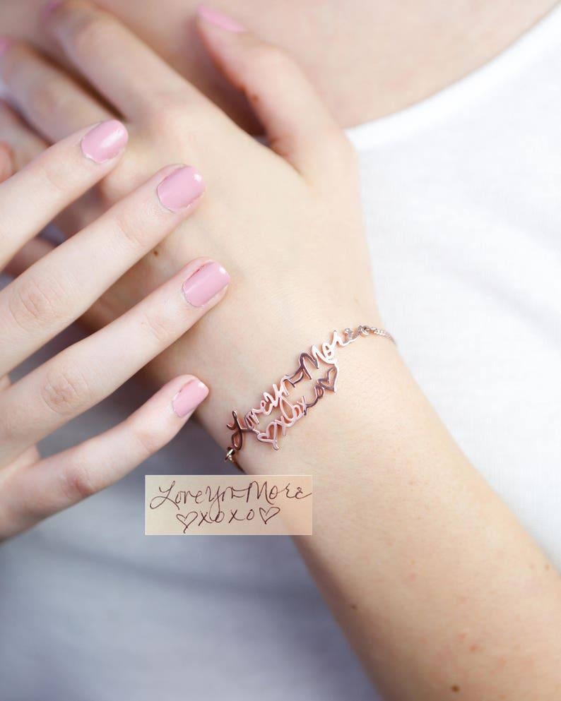 Memorial Signature Bracelet  Personalized Actual Handwriting image 0