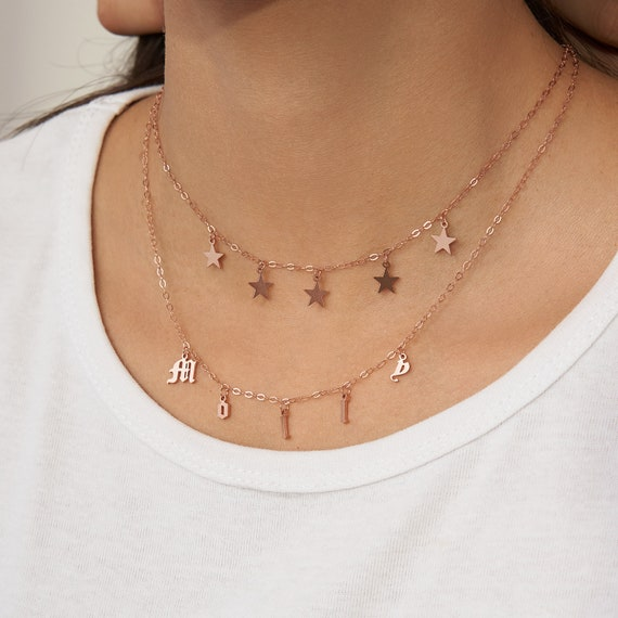 Minimal Accessories Necklace Personalized Custom Letter Necklace Letter Jewelry Girl Mom Gift Jewelry Tiny Sideways Letter Name Jewelry