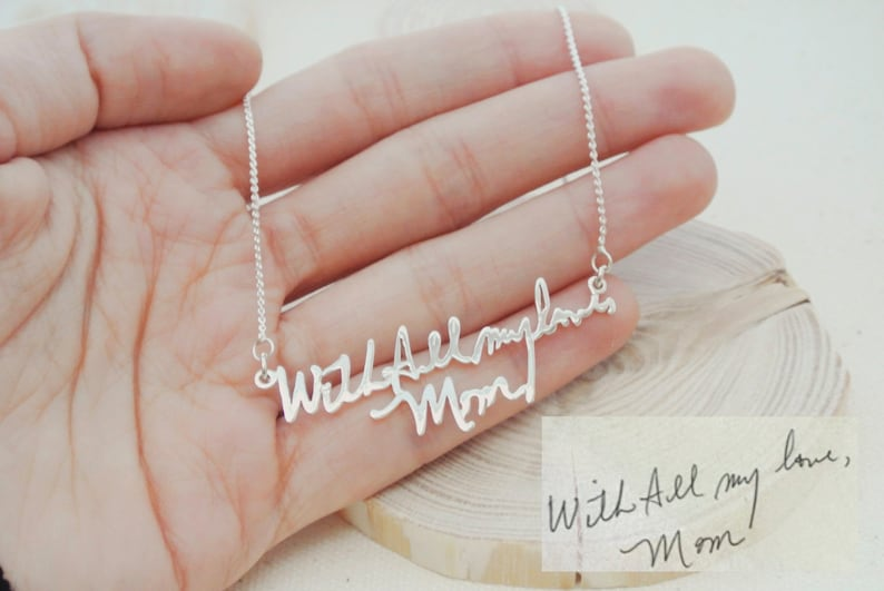 Memorial Signature Necklace  Personalized Handwriting image 0