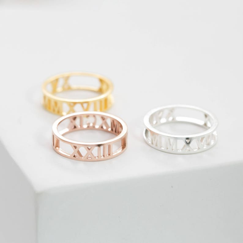 Custom Roman Numerals Ring  Date Ring  Personalize Numeral image 0