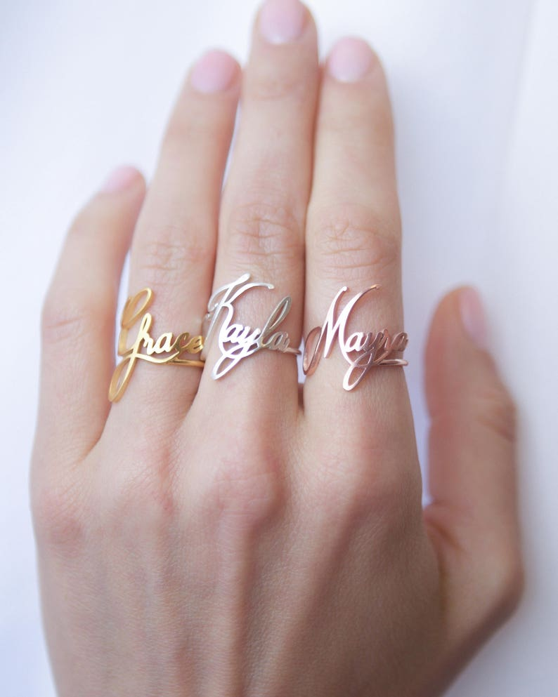 Custom Name Ring • Children Name Ring • Sterling Silver Ring • Personalized  Gift • Gift for Her • Baby Girl Ring • Mother's Gift •