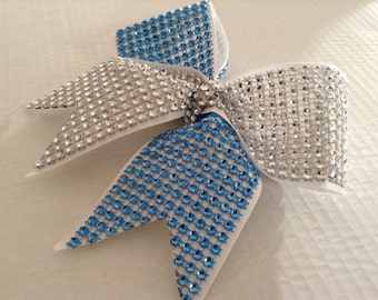 Cheer Bow- two tones Rhinestones Ribbon