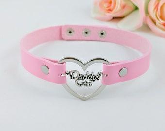 daddys girl simple lolita day collar heart ddlg fetish bdsm Pink