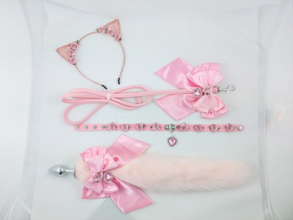 Deluxe luxury Kitten bdsm playset petplay buttplug fetish kinky tail ears collar leash cosplay sissylolita