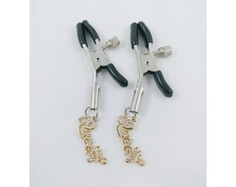 Bdsm queen of spades nipple clamps. Sissy stripper petplay heart rhinestone paw print luxe fetish kinky.
