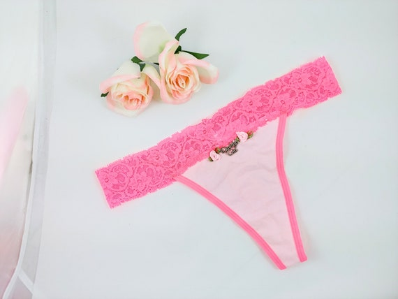 Daddys girl rose thong hot pink and light pink size Large