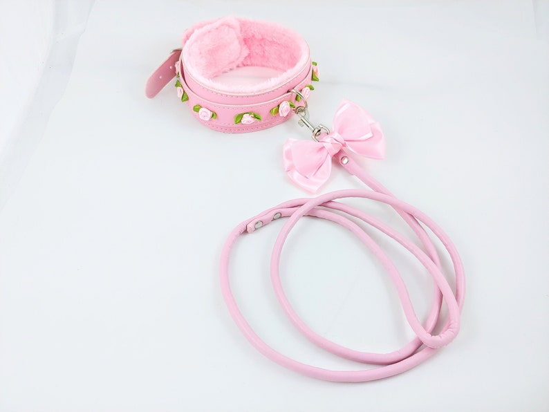 Luxury rose collar and leash set roses and bows petplay ddlg black fake leather