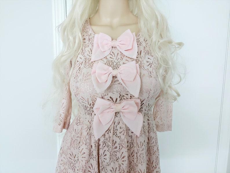 Pastel lace and bow pastel pink chiffon ddlg ooak dress grunge lolita