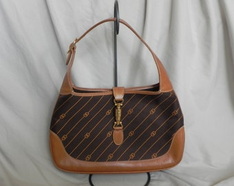 14a6fc30adb Vintage Gucci Horsebit Brown Jackie O Canvas and Leather Hobo Bag Shoulder  Bag Purse