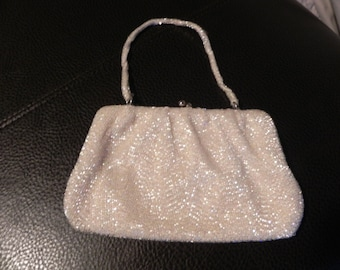 ce1d9a88d39c 1970 s or 1980 s Lovely White Beaded Formal Clutch Purse Handbag with Beaded  Handle by Magid