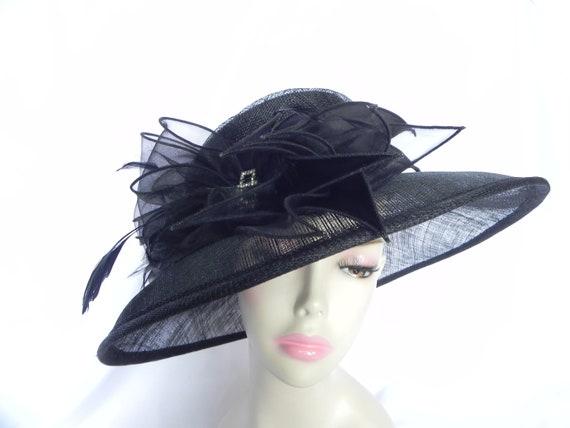 Black Straw Hat, Black Sinamay Hat, Black Fancy Ha