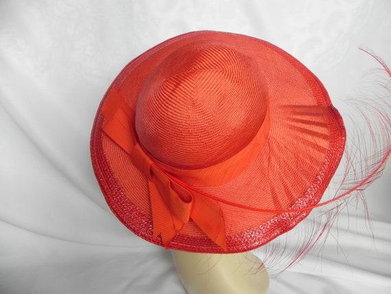 Vintage NWT Red Straw Wide Brim Fancy Hat Derby H… - image 1