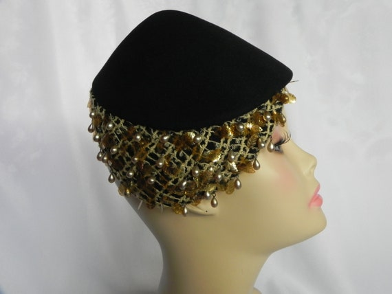 1920's or 1930's Black Felt Beaded Cloche Hat Cock