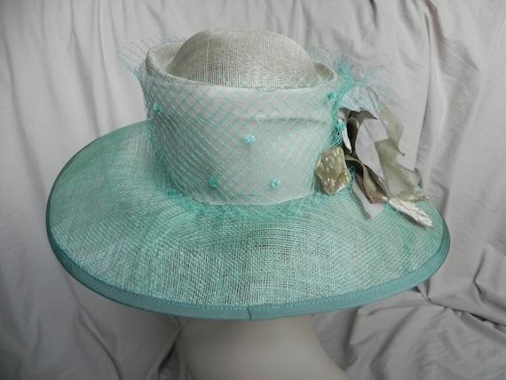 Aqua Blue Wide Brimmed Straw Derby Hat, Dress Hat… - image 4