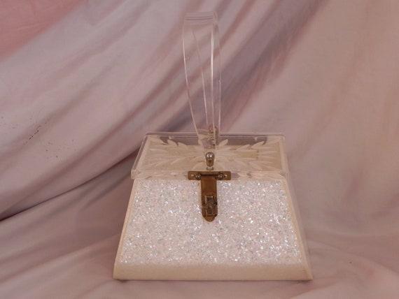 White Confetti Lucite Box Purse Handbag