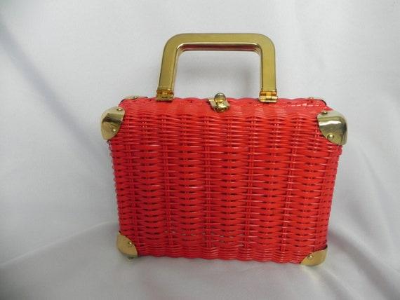 Red Wicker Straw box Purse Handbag by Marchioness