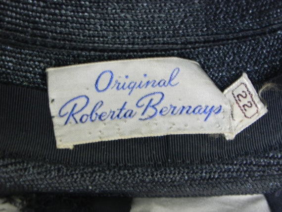 1940's Black Roberta Bernays Original Straw Hat W… - image 6