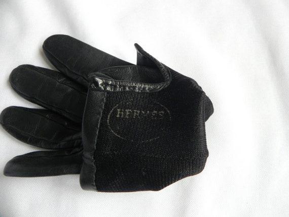 Vintage Hermes Gloves, French Black Leather Herme… - image 6