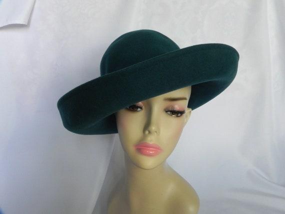 Teal Blue Frank Olive 1970's Wide Brim Hat Floppy