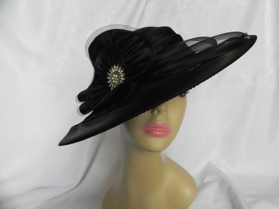 Black Synthetic and Straw Hat, Derby Hat, Sunday H