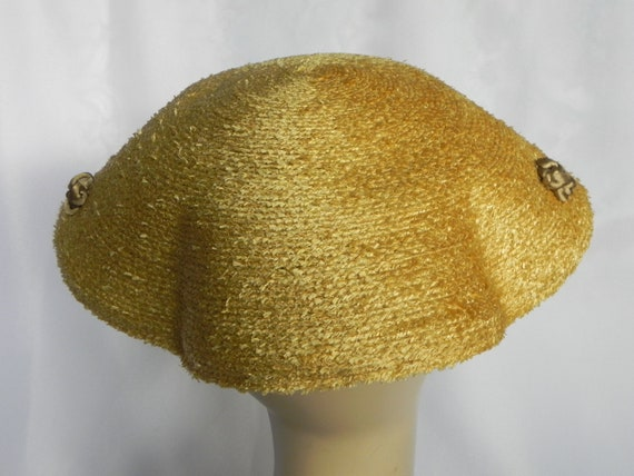 1940's or 50's Natural Straw Wavy Platter Hat, Wi… - image 4