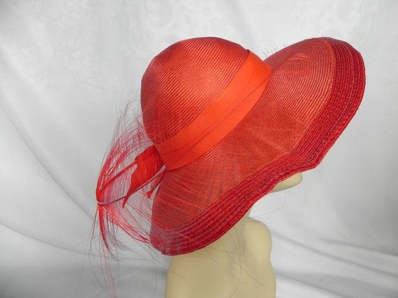 Vintage NWT Red Straw Wide Brim Fancy Hat Derby H… - image 3