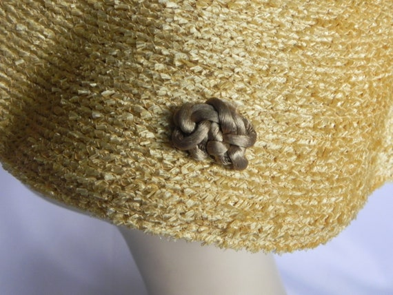 1940's or 50's Natural Straw Wavy Platter Hat, Wi… - image 5