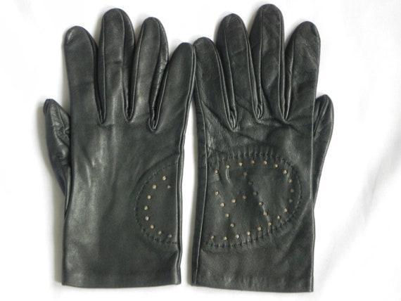 Vintage Hermes Gloves, French Black Leather Herme… - image 1