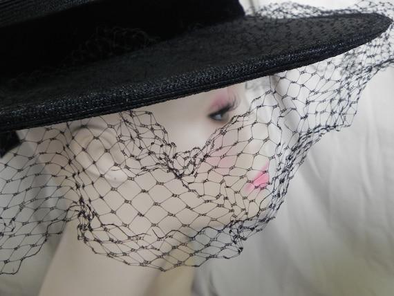 1940's Black Roberta Bernays Original Straw Hat W… - image 7