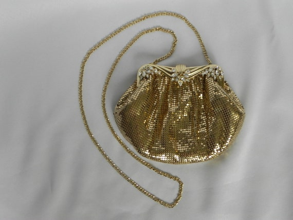 1980's Whiting and Davis Gold Mesh Evening Bag Sho