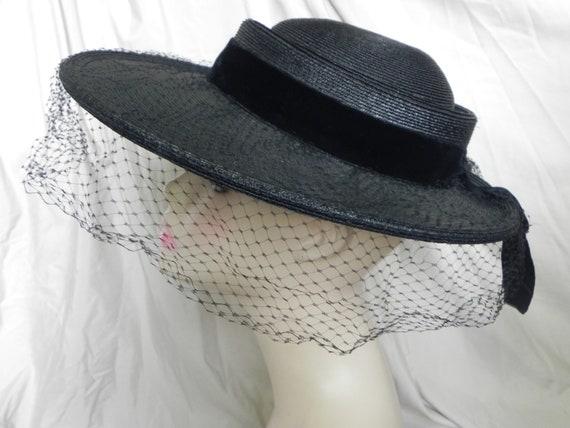 1940's Black Roberta Bernays Original Straw Hat W… - image 2
