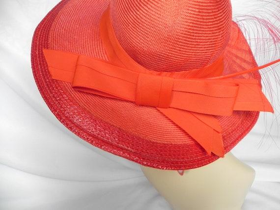 Vintage NWT Red Straw Wide Brim Fancy Hat Derby H… - image 4